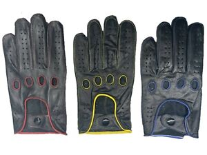MEN'S 100% GENUINE LEATHER DRIVING GLOVES REVERSE STITCH CHAUFFEUR