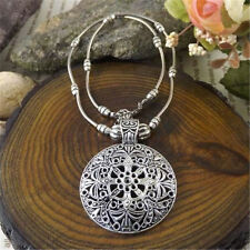 Fashion Bohemian Vintage Tibetan Silver Hollow Round Pendant Necklace Jewelry