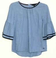 Tommy Hilfiger Women's Blue White Stripe Bell Tiered 3/4 Sleeve Top sz XS Cotton