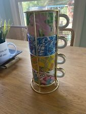 Lily Pulitzer For Target Coffee Cup Teacup Set 4 Cups Great Condition