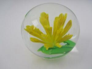 Striking Yellow Flower Art Glass Paper Weight
