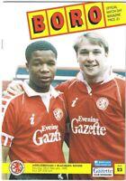 Middlesbrough v Blackburn Rovers 1991/2 (22 Feb)