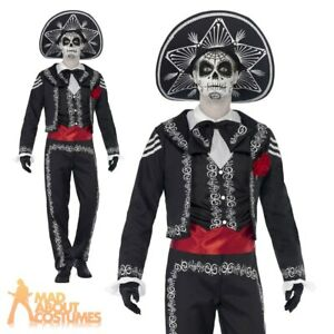 Adult Senor Bones Costume Day of the Dead Mens Fancy Dress Halloween Outfit