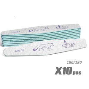 Ezflow Grey Fox Nail Files 180/180 - 10ct for acrylic UV gel Dip Powder