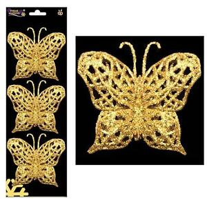 Christmas - 3 Pack Wire on Glitter Butterfly Tree Decorations (DP) - Gold