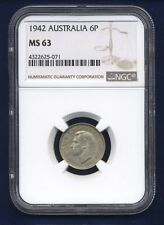 AUSTRALIA  1942  SIXPENCE SILVER COIN, CHOICE UNCIRCULATED, CERTIFIED NGC MS-63