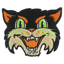 Halloween Cat embroidered chenille patch- goth, black