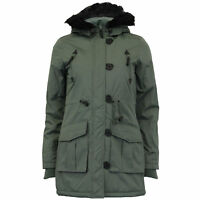 Ladies Parka Jacket Womens Brave Soul Coat Padded Hooded Fur Military Winter New