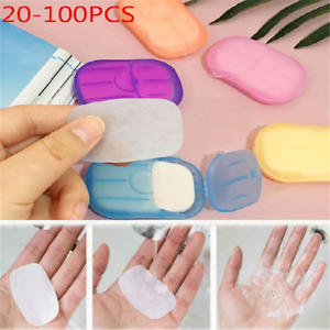 100 pcs Disposable Boxed Paper Soap Travel Portable Hand Washing Box Scented Lot