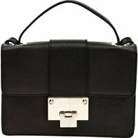 Jimmy Choo Black Grainy Calf Leather Cross Body Bag Silver Hardware OGRC|028