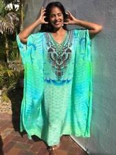 NEW Embellished Long Kaftans Plus Size O/S Fits Size14- 26 Mermaid Green Viscose