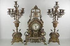 Antique Xl 1920 French brass Dolphin putti cherub head clock + pair candelabras