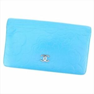 Chanel Wallet Purse Long Wallet Camellia Blue leather Woman Authentic Used T8457