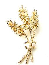 Oro Trigo Broche Hoja Griega Alfiler Novia Reino Bosques Boho Romano Clásico