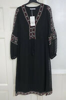 ZARA ETHNIC BLACK EMBROIDERED DOTTED MESH MIDI DRESS SIZE S BNWT RRP£49.99
