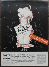 BAL DE L'INTERNAT 1953 Carton d'invitation Homme illustré par FOURNEL + Coupon
