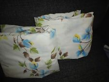 """VINTAGE SEARS  BLUE BROWN FLORAL PERMA PREST (2) FULL FITTED SHEETS 7"""" DEFECTIVE"""