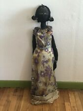 African American Antique Vintage Rag Doll, 3' tall, painted face, human hair