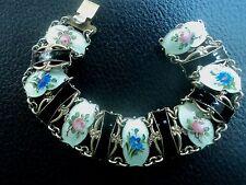 Norwegian sterling silver floral/fleur émail bracelet-ivar holt norvège