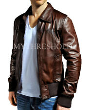 Mens Biker Vintage Motorcycle Distressed Brown Bomber Winter Real Leather Jacket