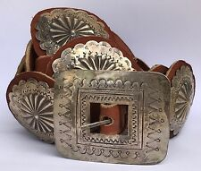 OLD DEAD PAWN Navajo Large Sterling Silver Stamped Concho Belt Brown Leather