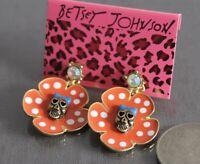 E716 Betsey Johnson Skull Head Halloween Party Orange Sun Flower Earrings UK