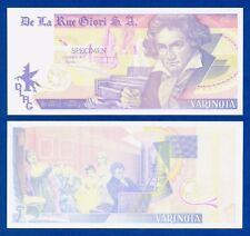 De La Rue Giori Varinota Beethoven Color Trial #7 - Specimen Test Note Unc