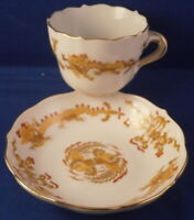 Vintage 20tC Meissen Porcelain Cup & Saucer Yellow Dragon Porzellan Tasse German