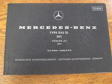 Mercedes-Benz Type 350 SL Parts Catalog Manual 1971 1972 1973  r107