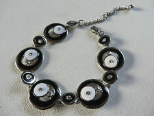 FUNKY RETRO 60s/70s BLACK WHITE & DIAMANTE CIRCLE DISC LINKED BRACELET 21cm new