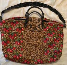 BETSEY JOHNSON Leopard Cheetah Cherries Print Weekender Luggage Tote Duffel Bag