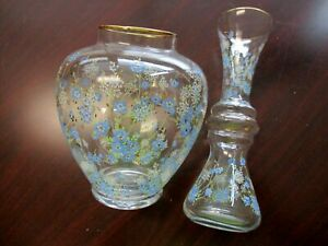 Clear Glass Vases with Blue Flowers & Gold Trim Set Of 2