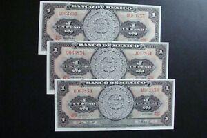 Mexico 3x1 Peso 1965 Running Numbers Crisp UNC