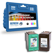 Refresh Cartuchos #338 & #343 SD449EE 1 Juego Completo Tinta Compatible con hp
