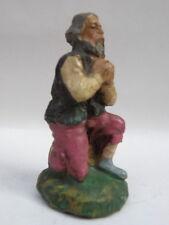 PRESEPE PRESEPIO vecchia statuina cartapesta uomo che prega cm 6,5