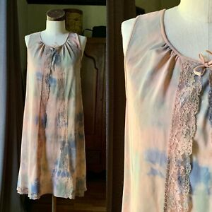 DYED PETALS Vintage Botanically Hand Dyed Tie Dyed Slip Dress Nighty S/M 36