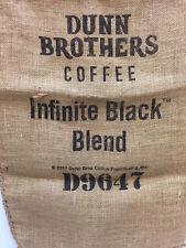 Dunn Brothers Coffee Burlap Bag Sack Infinite Black Blend Lettering D9647