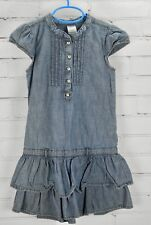Gymboree Summer Jean Dress Cotton Cap Sleeve Denim Blue Girls Size 7 Ruffles