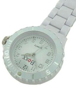 New BOXX White All Plastic Quartz Nurse Fob Watch