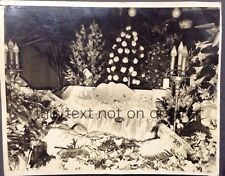 Vintage Post Mortem Photo 8x10 Young Boy Child in Casket Flowers Banners