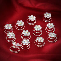12 pcs Bridal Wedding Prom Crystal Flower Pearl Hair Coil Swirl Twist Spiral Pin
