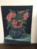 tableau ancien huile sur papier B.DE?????  (XXe-s) nature morte aux fleurs