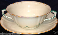 MASONS YORKSHIRE HANDLED CREAM SOUP BOWL SAUCER 12 OZ FRUIT CENTER MUSTARD TRIM