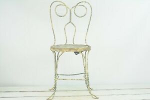 """Vintage Yellow Chippy Paint Wrought Iron ice Cream Parlor Chair 34""""H Zinc Seat"""