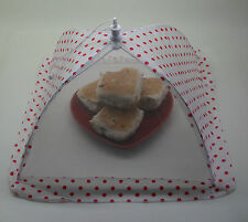 Folding Food Cover Protector Net White & Red Spots Umbrella 30.5cm Tala