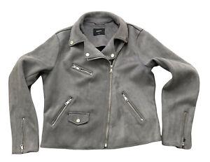 Papaya Matalan Womens Biker Jacket Grey Size 14 Faux Suede Coat Zipped Pockets