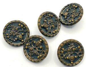 Antique Vintage Metal Picture Buttons~ Victorian FLORALS~ Brass Set of 5