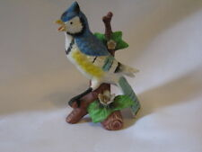 "Vintage Ceramic Blue Jay Blue Bird On A Flowered Tree Stump 5.5"" Figurine"