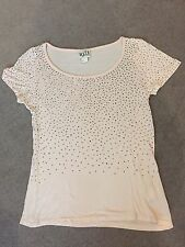 Reiss 1971 Nude Pink Rhinestone Tshirt Top - Casual Party Summer Sparkle - Small