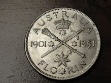 1935 Australia Florin 11.31 Gr. 500 Fine Silver Coin KM# 47 Nice Details